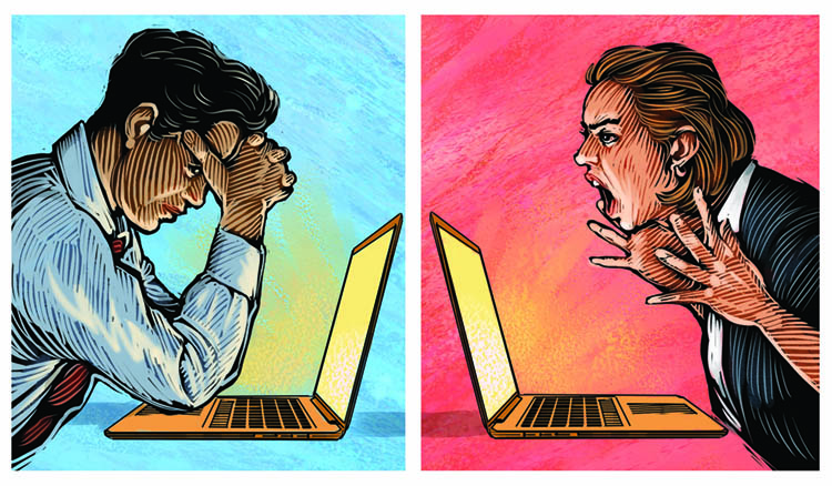 arguing through laptops