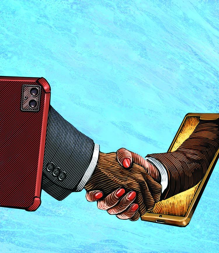 handshake through cell phones