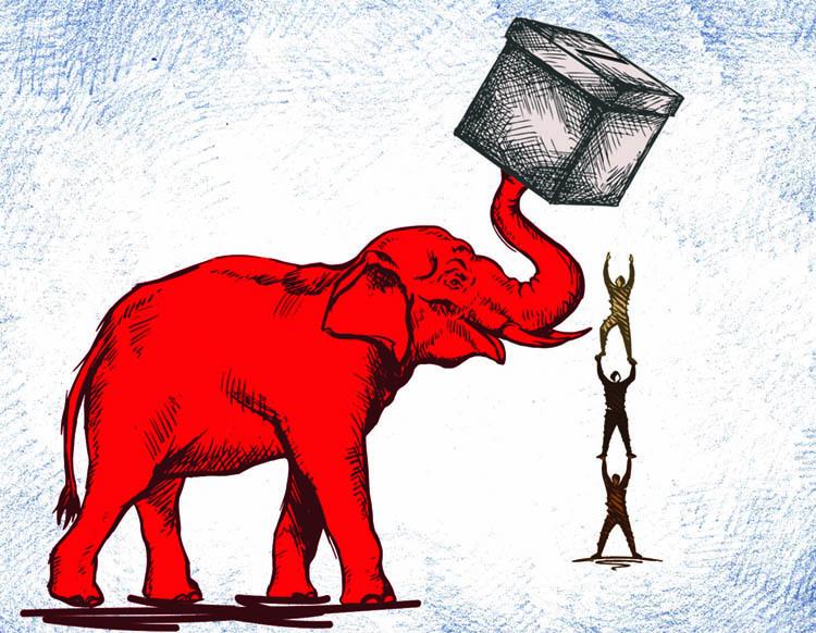 Republican Elephant holding a ballot box