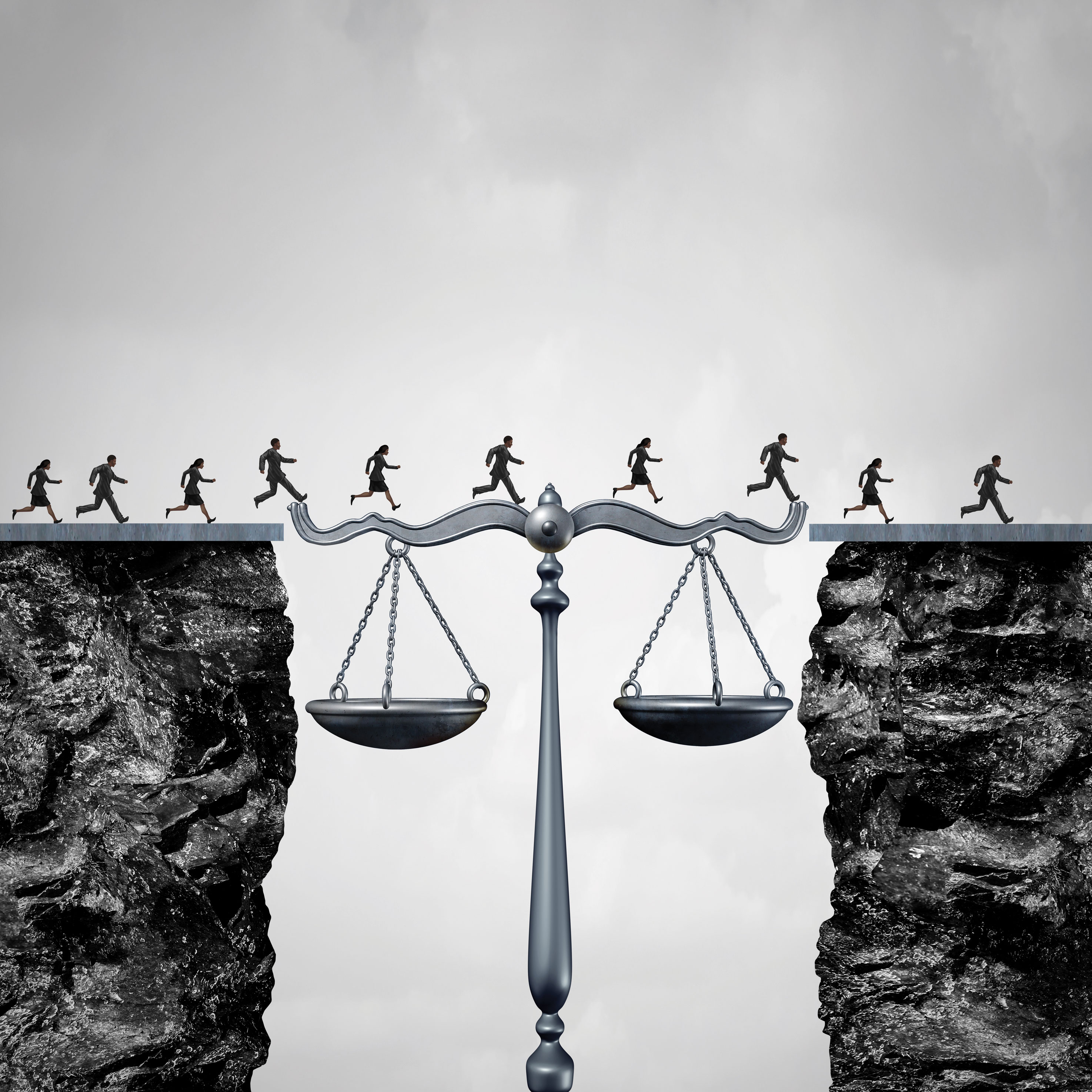 Illustration of people jumping across a gap using the scales of justice as a bridge