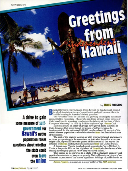 ABA Journal magazine page, titled Greetings From Independent Hawaii.