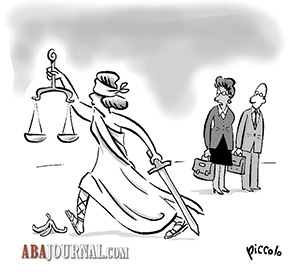 Lady Justice slips on a banana peel.