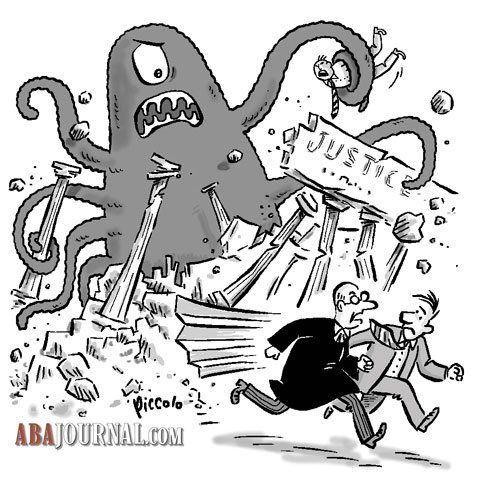 Octopus destroys justice sign and pillars while lawyers run away.