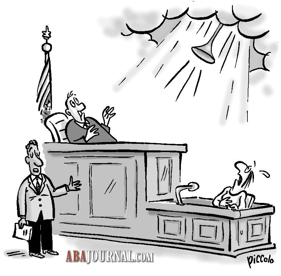 Judge, lawyer and witness in raining courtroom.