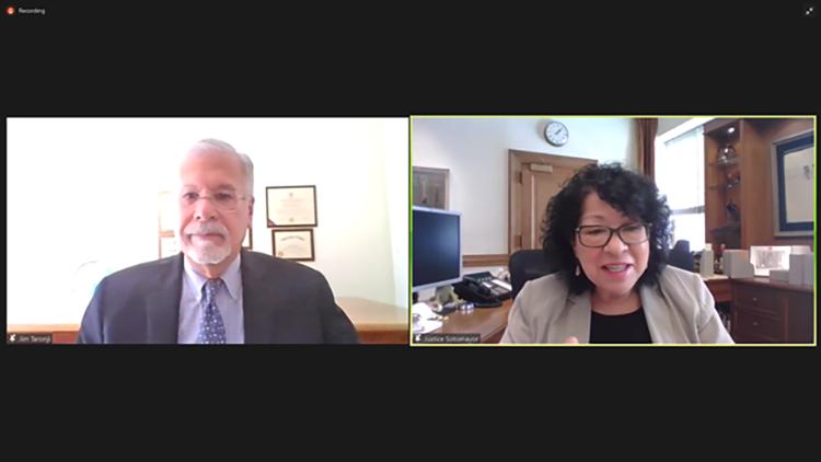 Jim Taronji and Sonia Sotomayor on a Zoom call