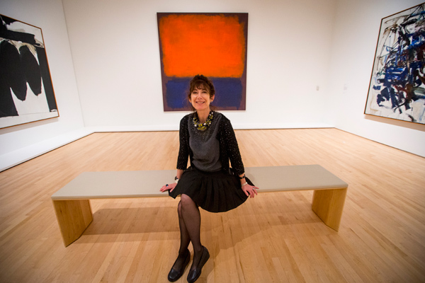 Darraby sitting in front of Rothko painting