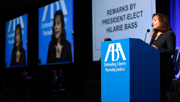 Hilarie Bass addresses the ABA House of Delegates