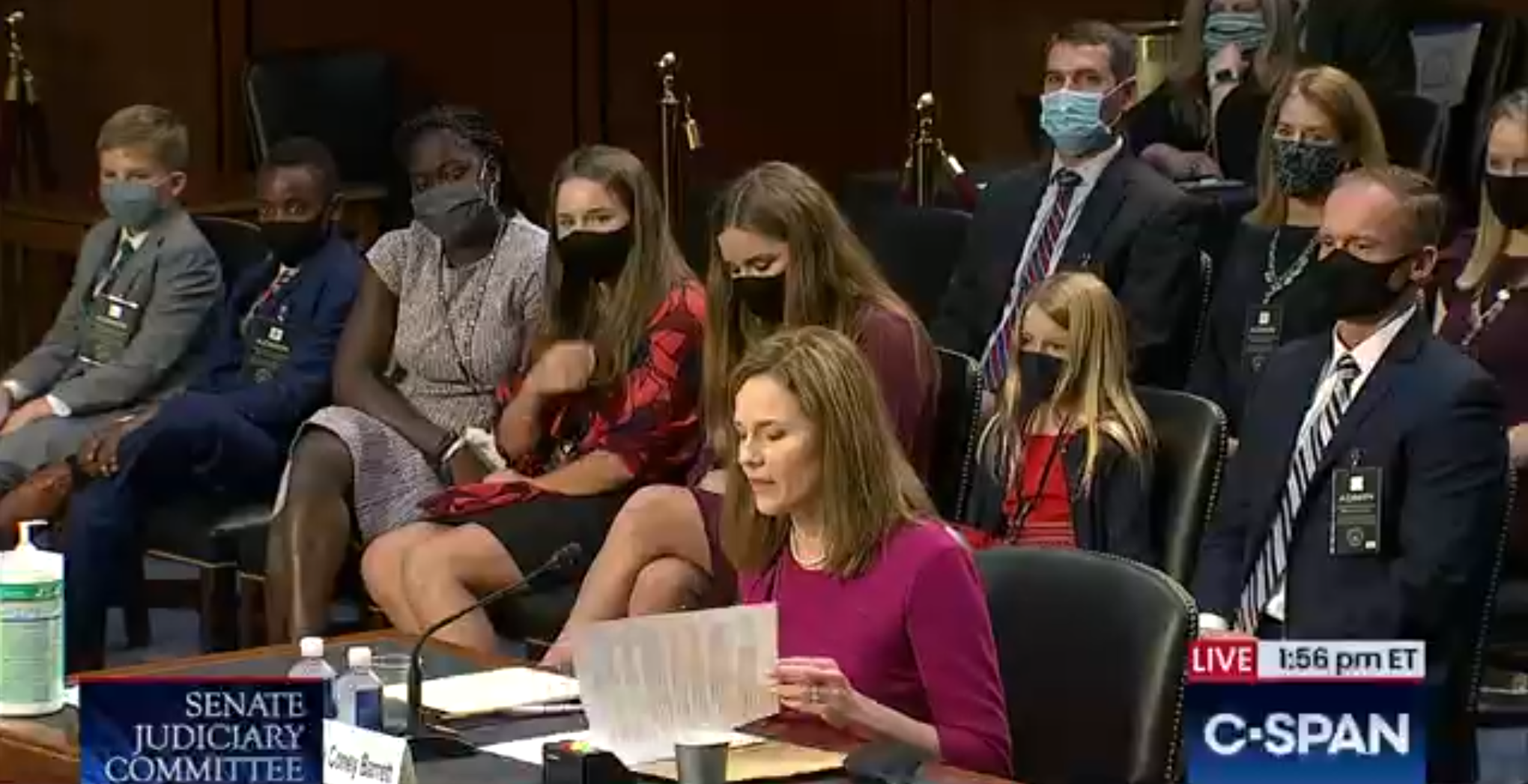Amy Coney Barrett and her family at the hearing