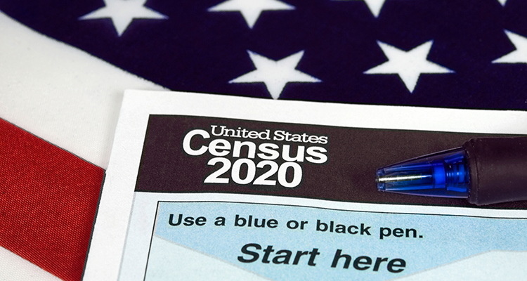 2020 census and flag