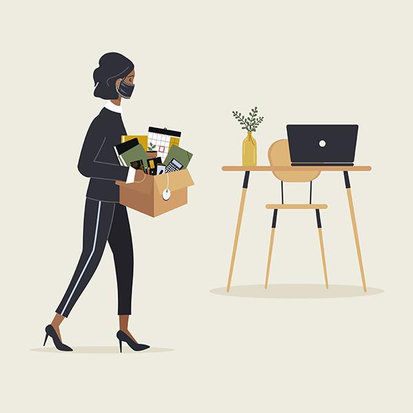 Black woman leaving her job