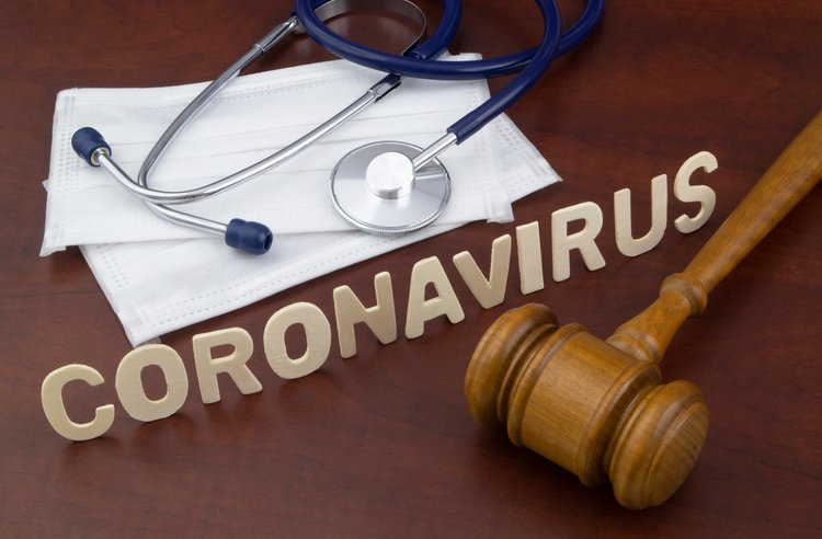 coronavirus words and gavel