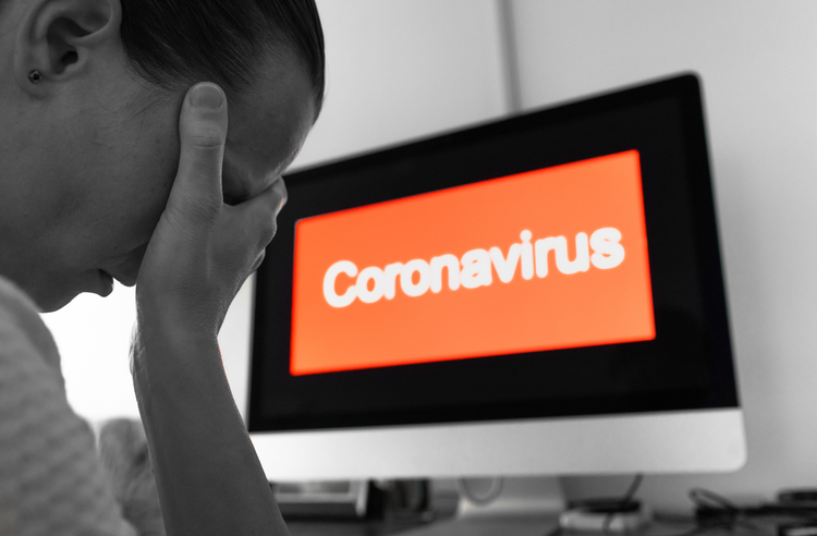 coronavirus stress concept with computer