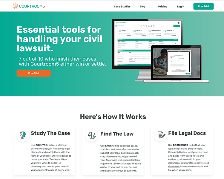 Screenshot of Courthouse5's homepage