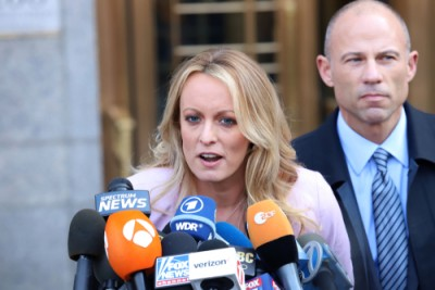 Stormy Daniels with her current lawyer Michael Avenatti in April 2018./JStone