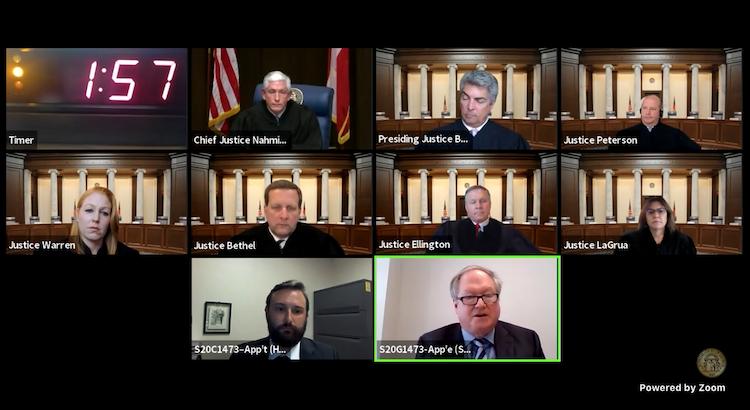 Georgia justices Brent Savage Zoom screenshot