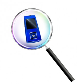magnifying glass with cellphone