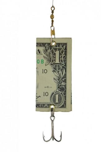 Ponzi scheme concept with dollar bill