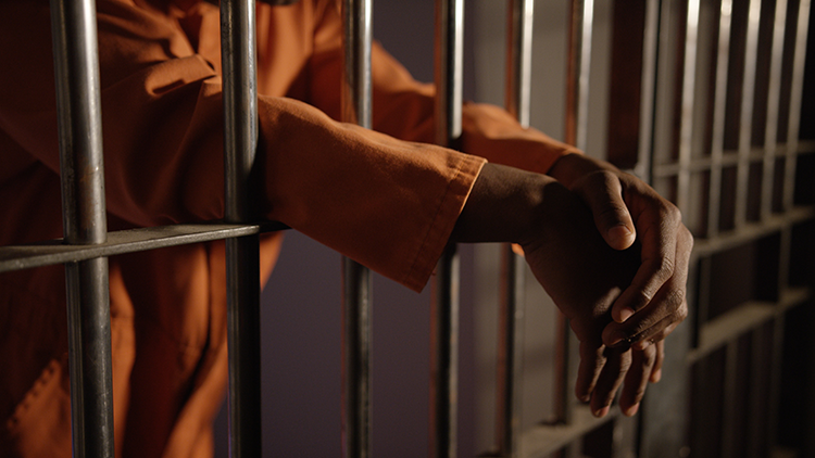 The arms of a Black prisoner behind bars