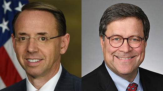 Deputy Attorney General Rod Rosenstein and William Barr