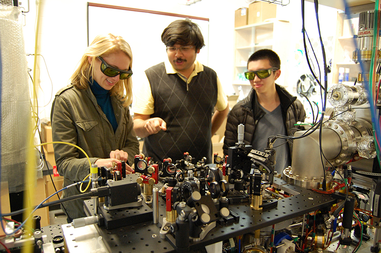 Students in physics lab.