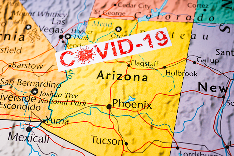 Arizona map with COVID-19 label