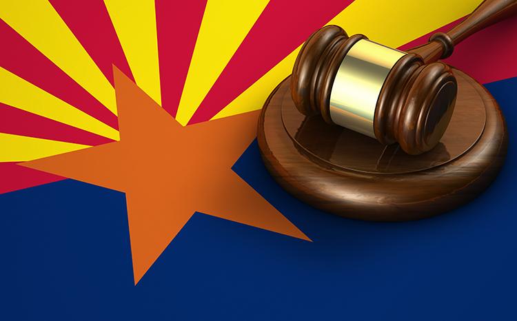 Arizona flag and gavel