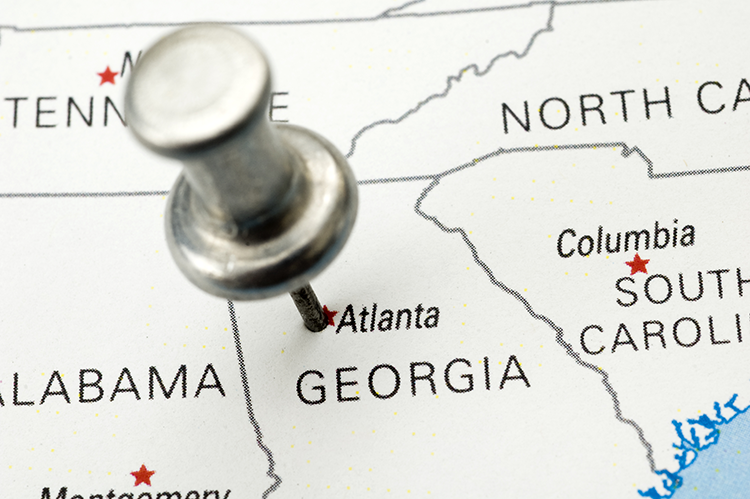 Atlanta on a map with a pin in it
