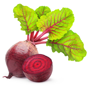 A beet with leafy top