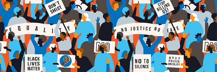 Illustration of a protest with a Black Lives Matter sign