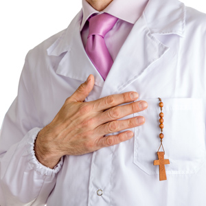 Doctor with a rosary in his pocket.
