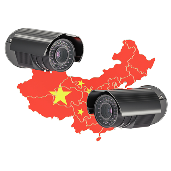 chinese flag and surveillance camera