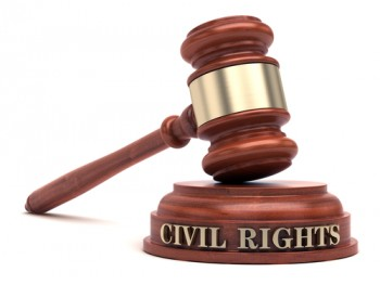 civil rights sign and gavel