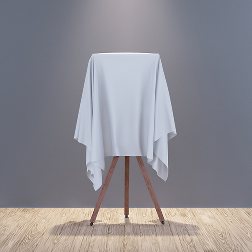 painting covered in a white sheet
