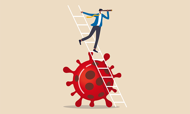 Man on a ladder over an enlarged covid virus gazing towards the future with a telescope