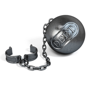 Shackles with ball and chain that say debt
