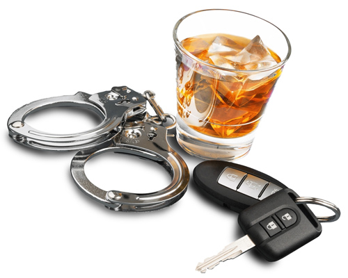 Alcohol handcuffs and car keys.