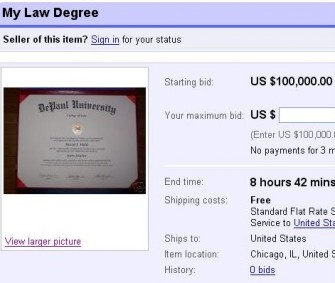 Ebay Listing Purports To Sell Law Degree