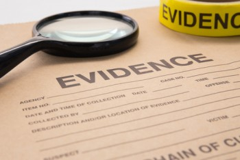 evidence and magnifying glass
