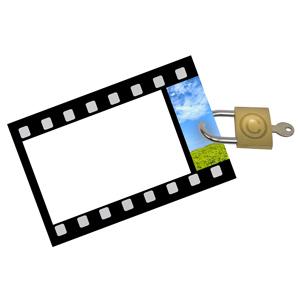 Filmstrip with copyright lock