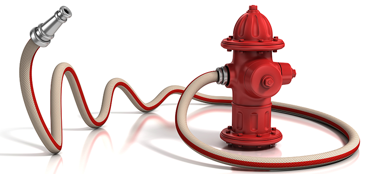 fire hose and hydrant