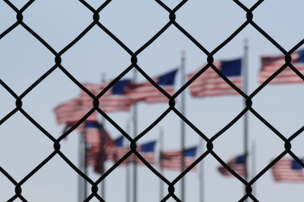 flag and fence