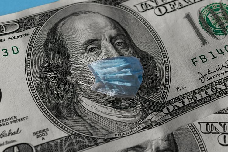 Ben Franklin on a hundred dollar bill wearing a medical mask
