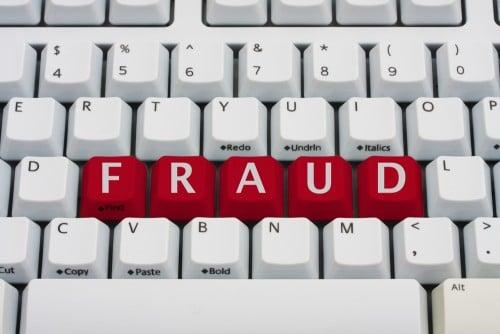 fraud words on keyboard