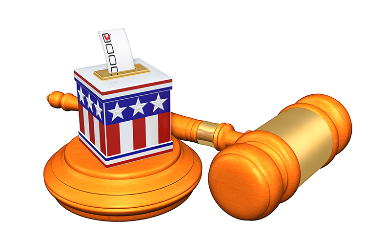 Ballot box and gavel