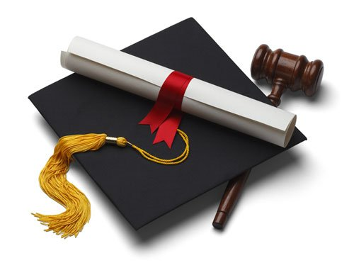 a mortarboard, diploma and gavel.
