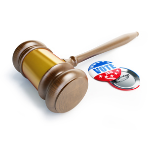gavel and vote button
