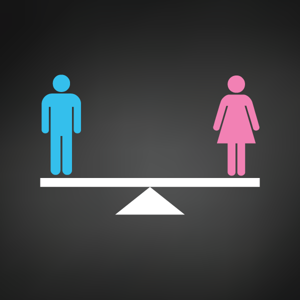 Man and woman weighted equally on a scale