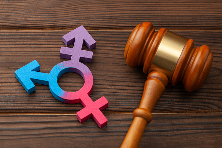 gavel and transgender symbol