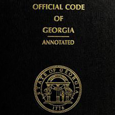 Georgia Code Annotated binder with state seal.