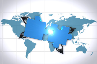 global merger with puzzle pieces